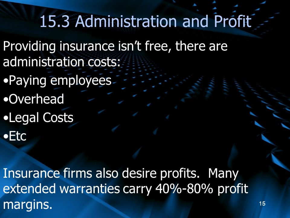 15.3 Administration and Profit