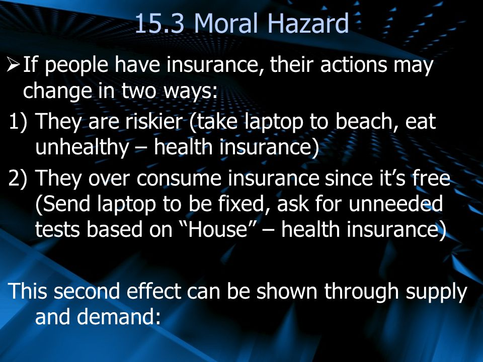 15.3 Moral Hazard If people have insurance, their actions may change in two ways:
