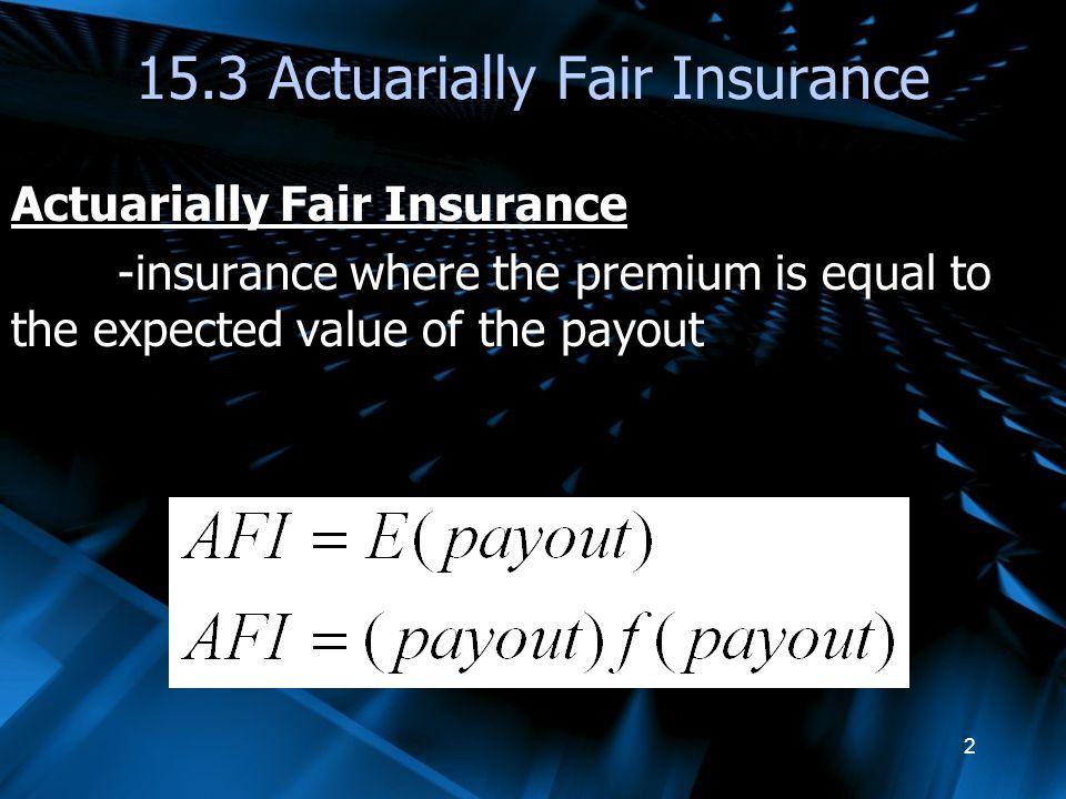 15.3 Actuarially Fair Insurance