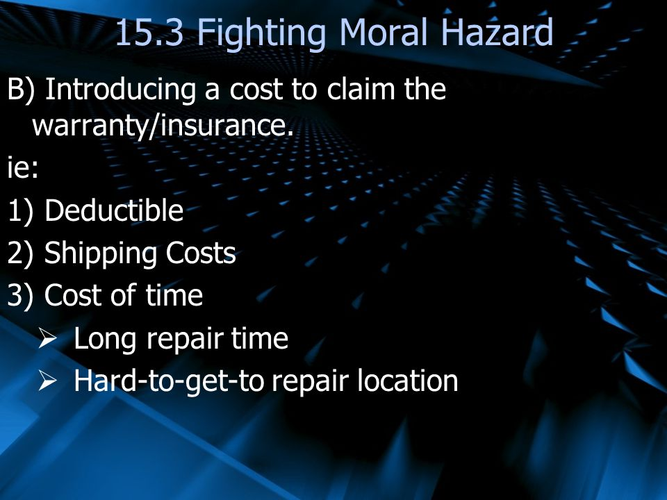 15.3 Fighting Moral Hazard B) Introducing a cost to claim the warranty/insurance. ie: Deductible.