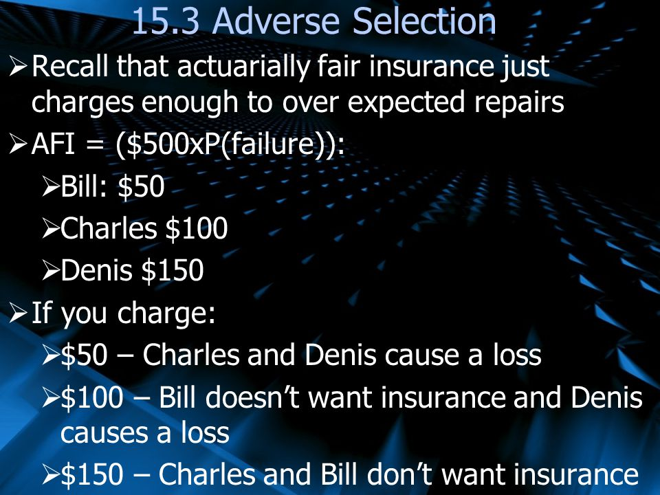 15.3 Adverse Selection Recall that actuarially fair insurance just charges enough to over expected repairs.