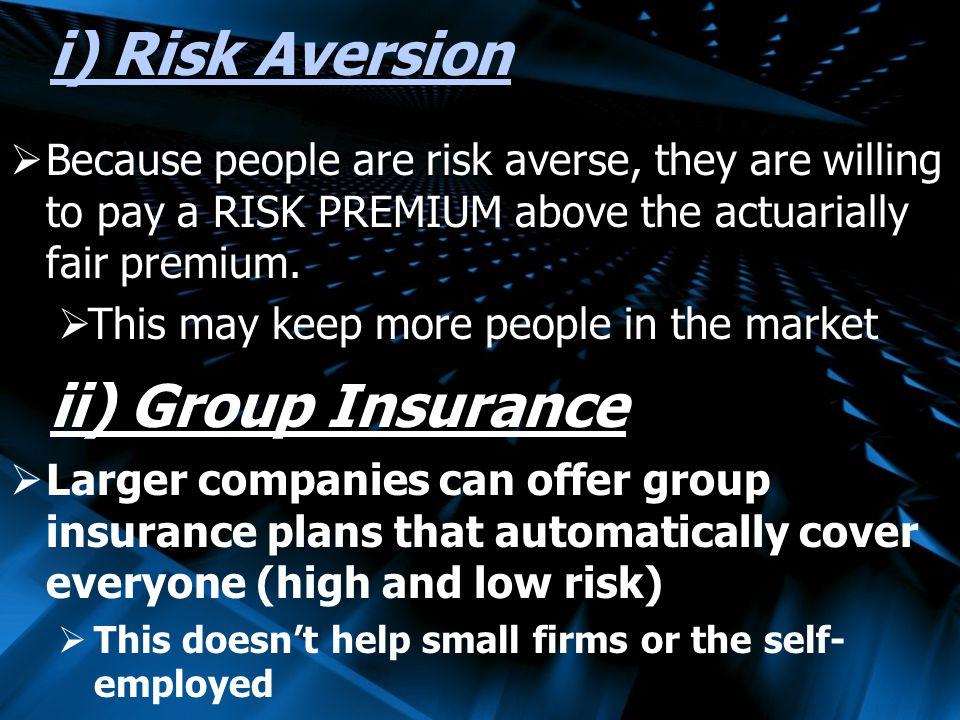 i) Risk Aversion ii) Group Insurance