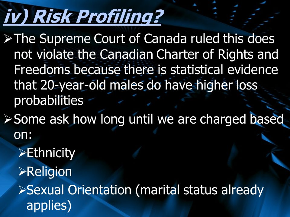 iv) Risk Profiling