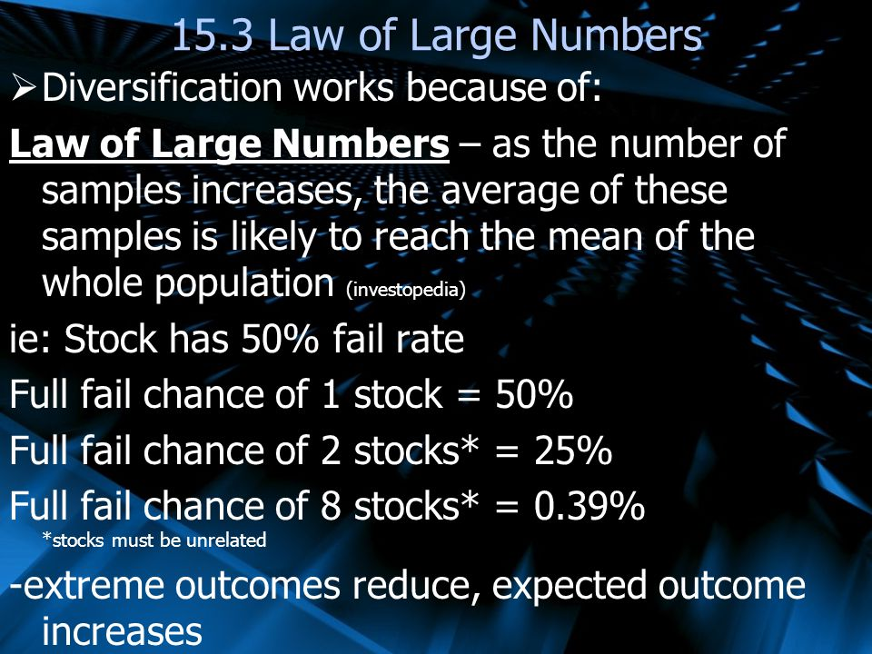 15.3 Law of Large Numbers Diversification works because of: