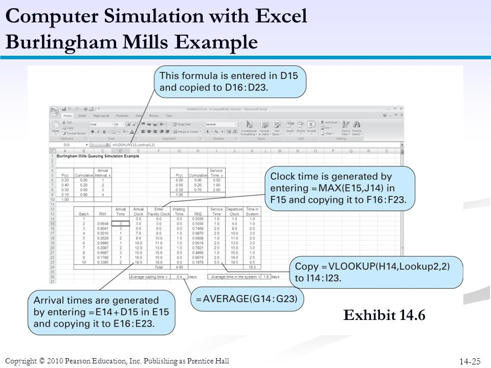 Computer Simulation with Excel Burlingham Mills Example