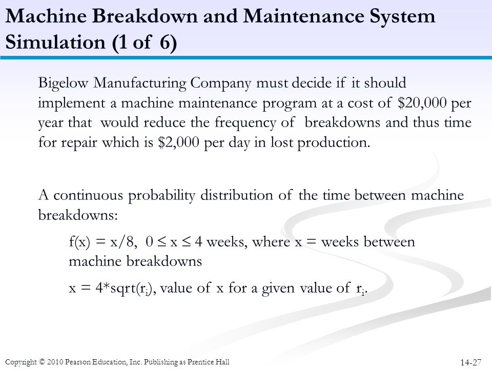 Machine Breakdown and Maintenance System Simulation (1 of 6)