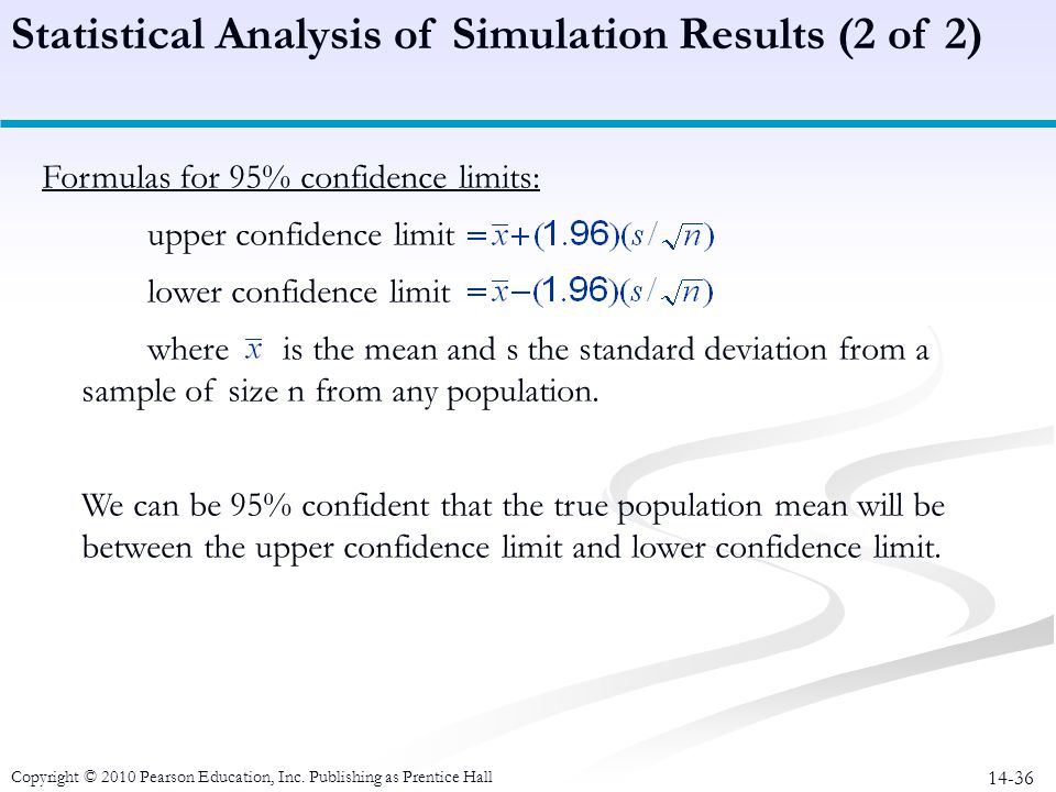 Statistical Analysis of Simulation Results (2 of 2)