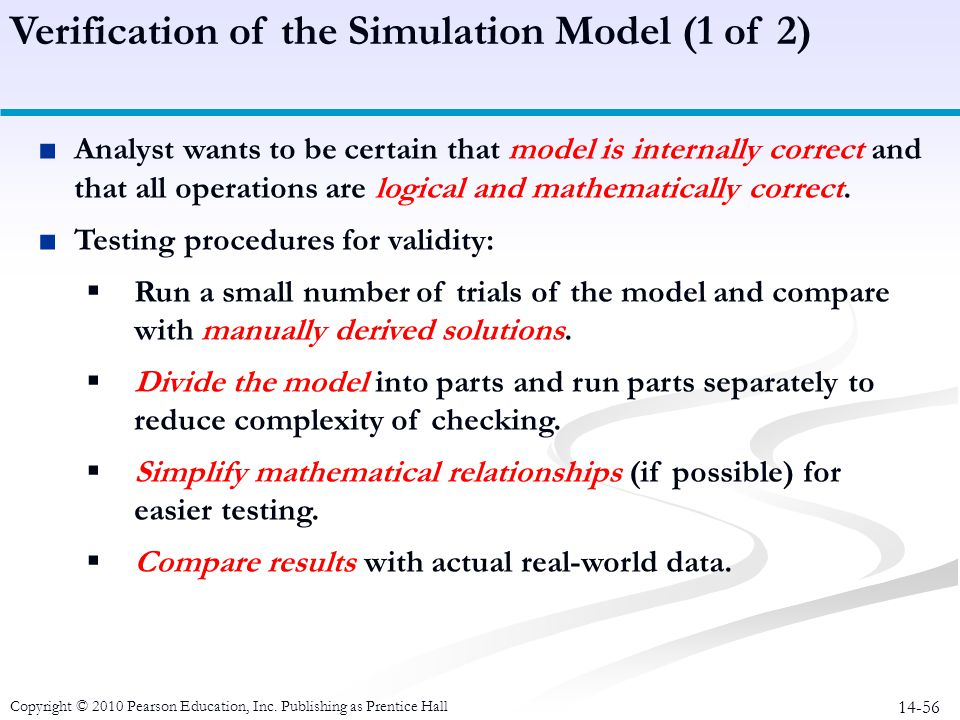 Verification of the Simulation Model (1 of 2)