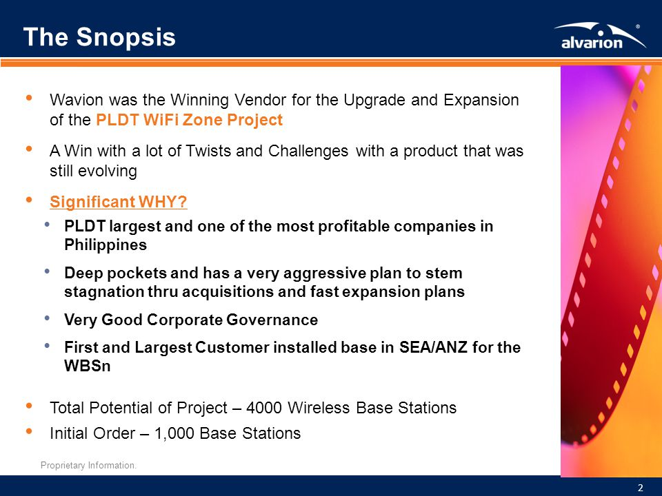 The Snopsis Wavion was the Winning Vendor for the Upgrade and Expansion of the PLDT WiFi Zone Project.