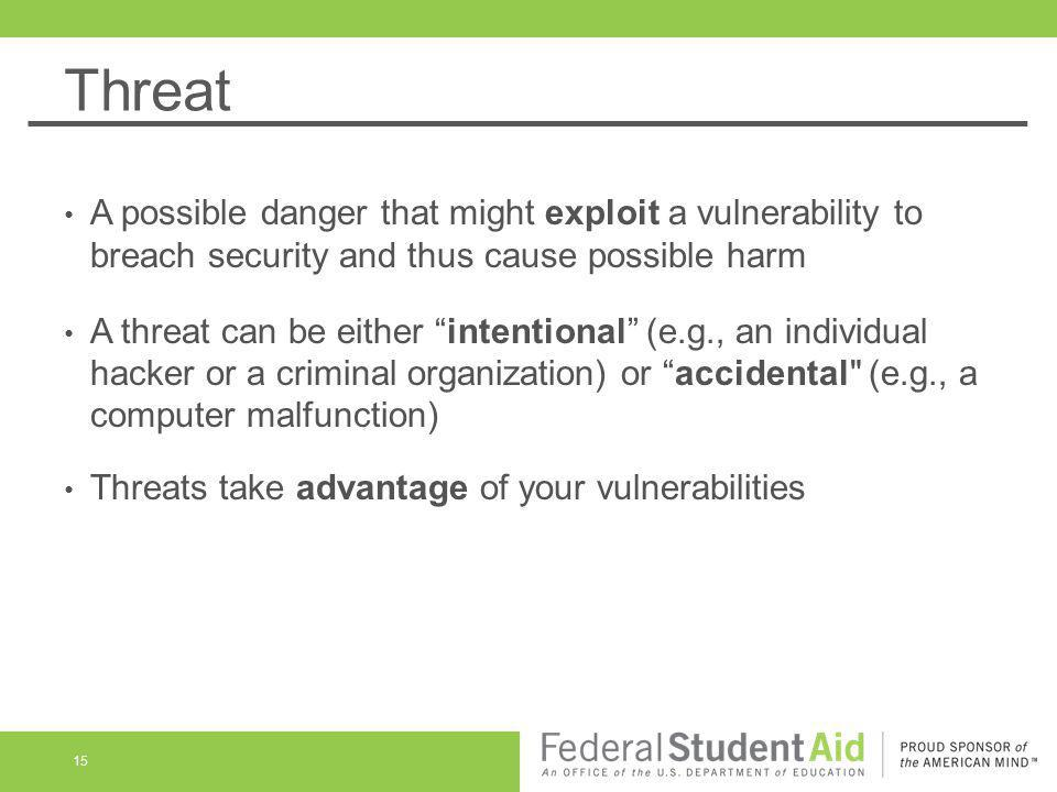Threat A possible danger that might exploit a vulnerability to breach security and thus cause possible harm.