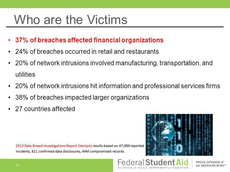 Who are the Victims 37% of breaches affected financial organizations