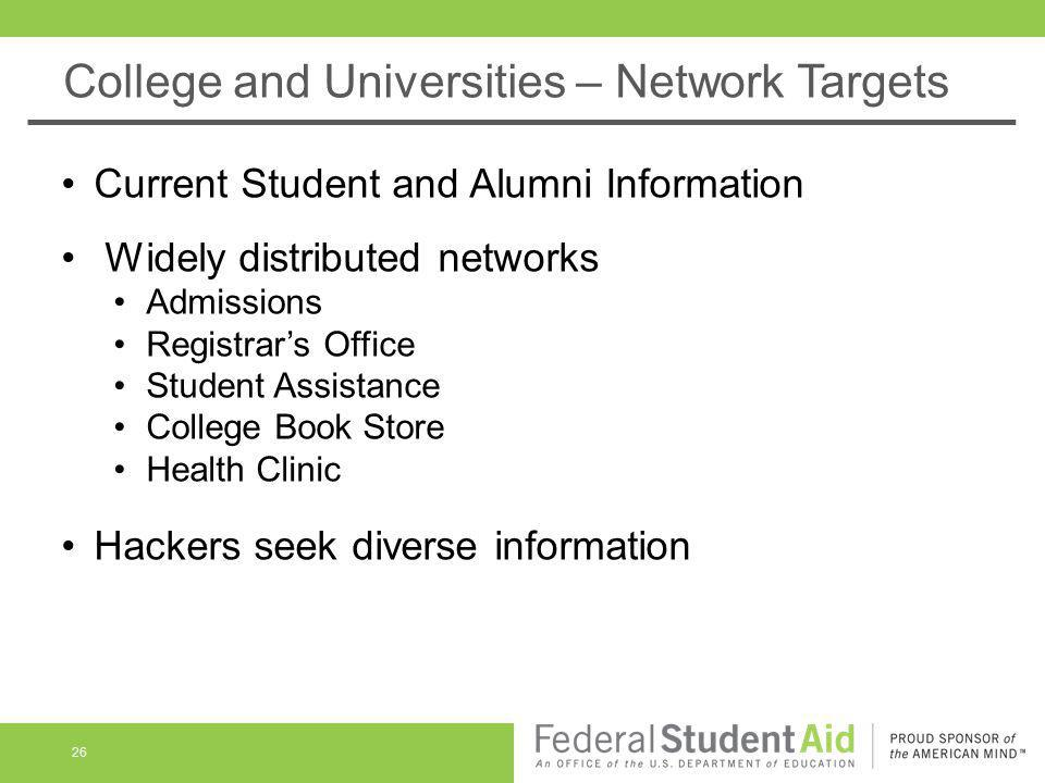 College and Universities – Network Targets