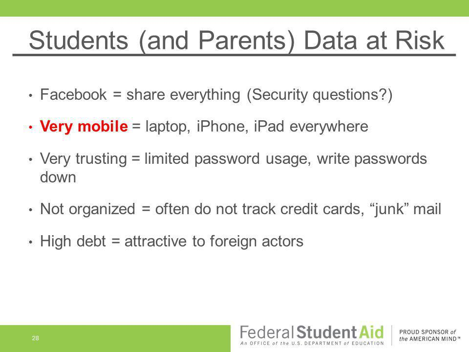 Students (and Parents) Data at Risk