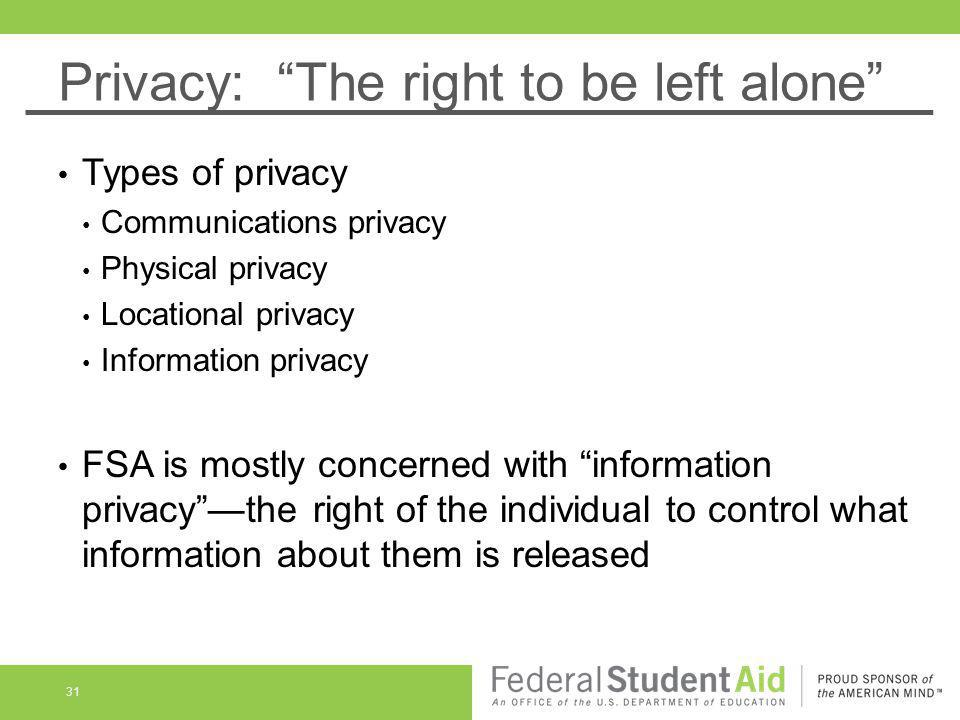 Privacy: The right to be left alone