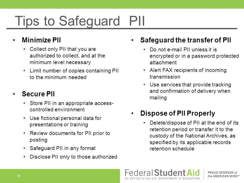 Tips to Safeguard PII Minimize PII Safeguard the transfer of PII