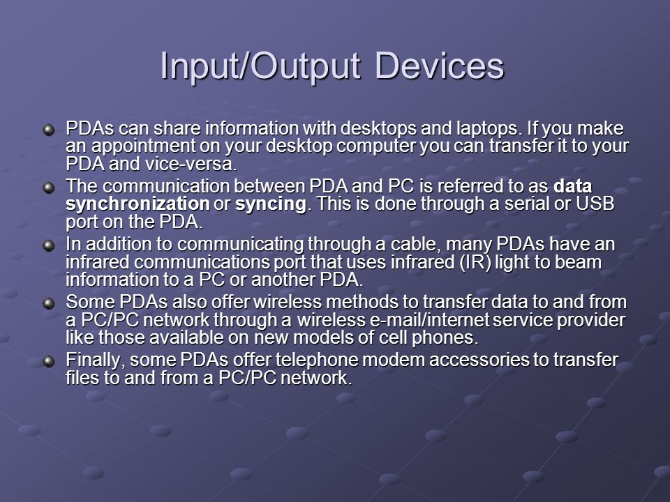 Input/Output Devices
