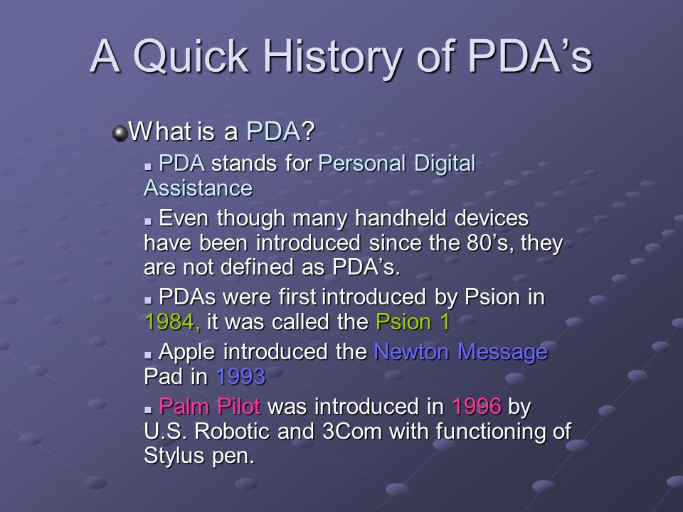 A Quick History of PDA's