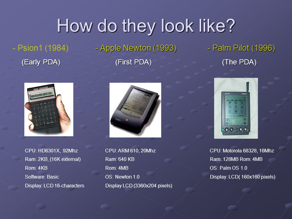 How do they look like - Psion1 (1984) - Apple Newton (1993)