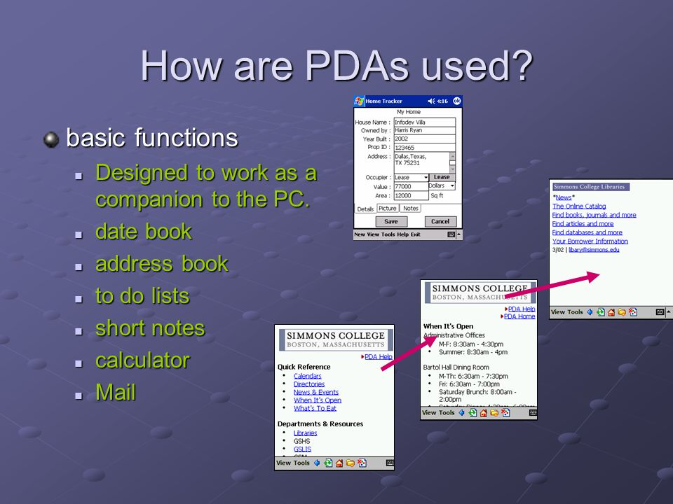 How are PDAs used basic functions