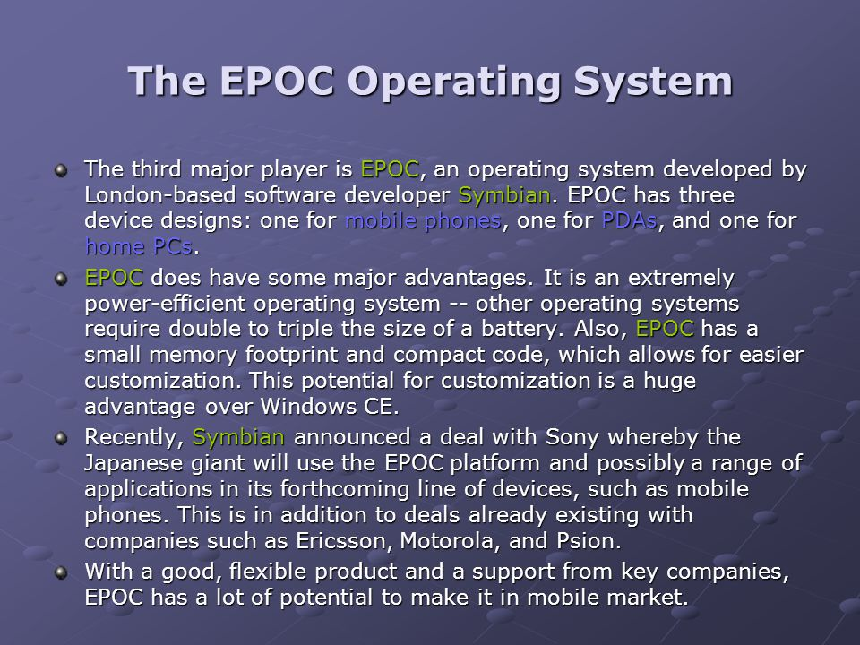 The EPOC Operating System