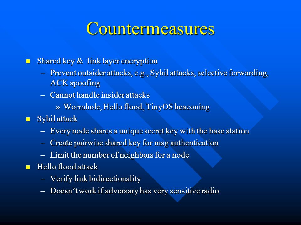 Countermeasures Shared key & link layer encryption