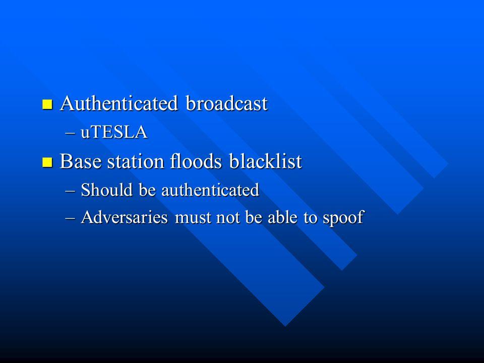 Authenticated broadcast Base station floods blacklist