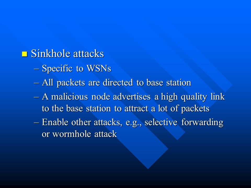 Sinkhole attacks Specific to WSNs
