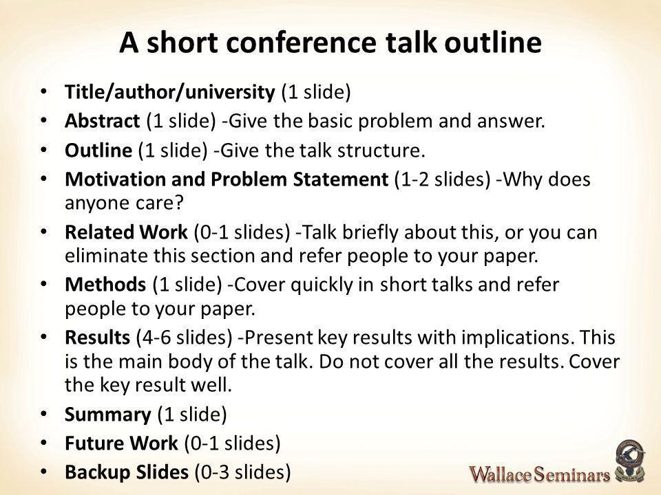 A short conference talk outline