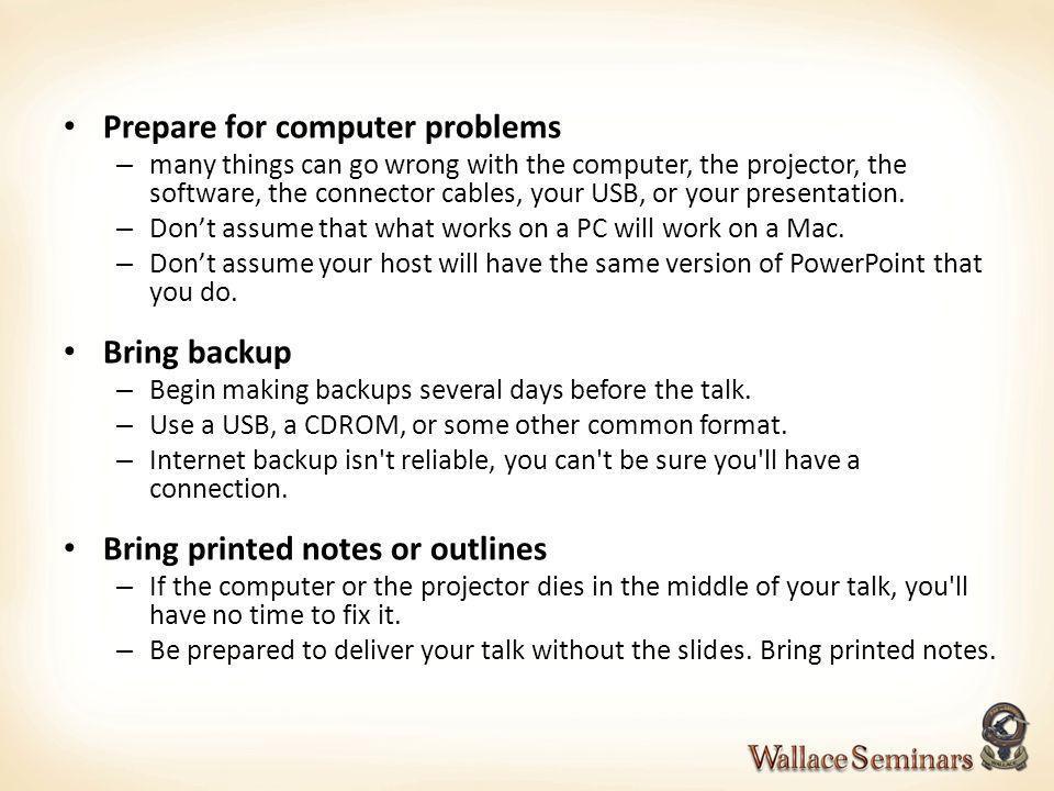 Prepare for computer problems