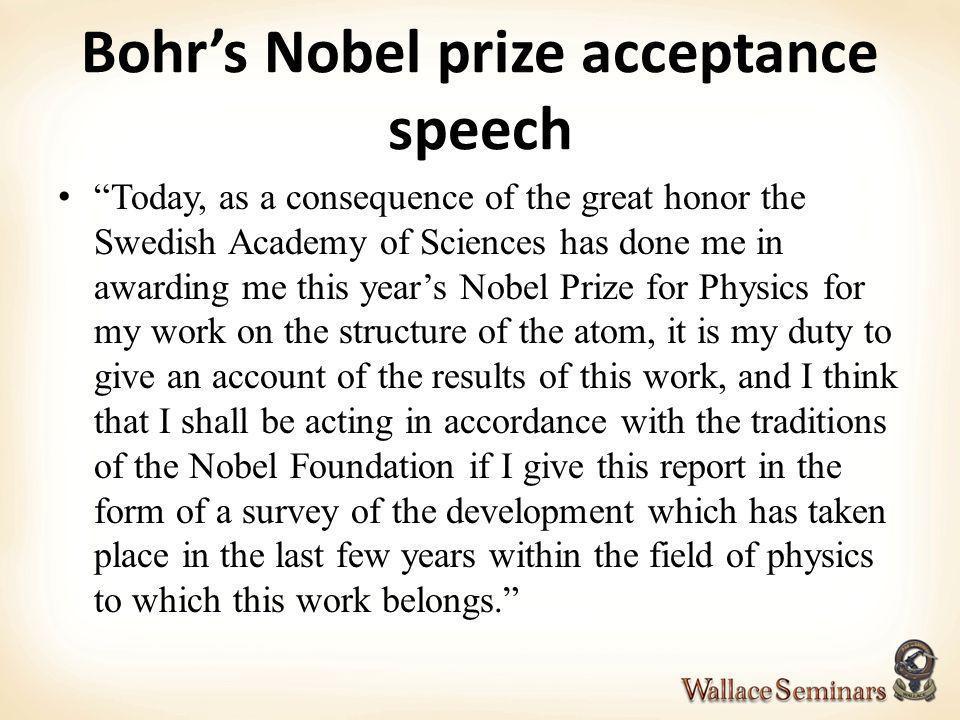 Bohr's Nobel prize acceptance speech