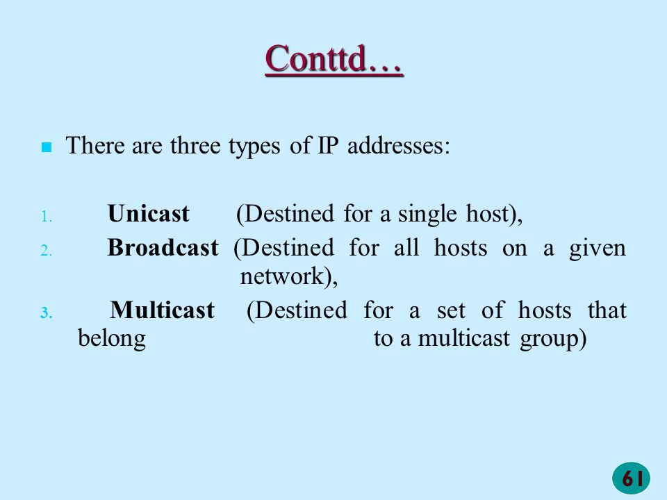 Conttd… There are three types of IP addresses: