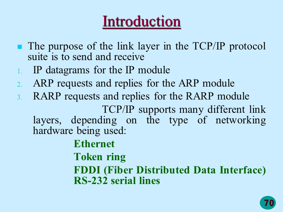 Introduction The purpose of the link layer in the TCP/IP protocol suite is to send and receive. IP datagrams for the IP module.