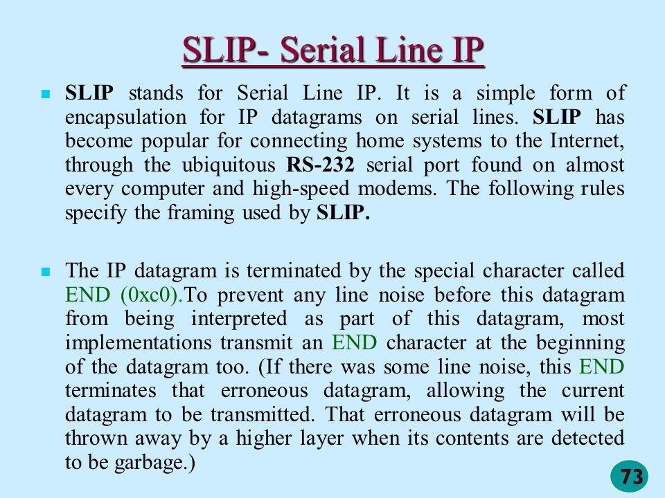 SLIP- Serial Line IP