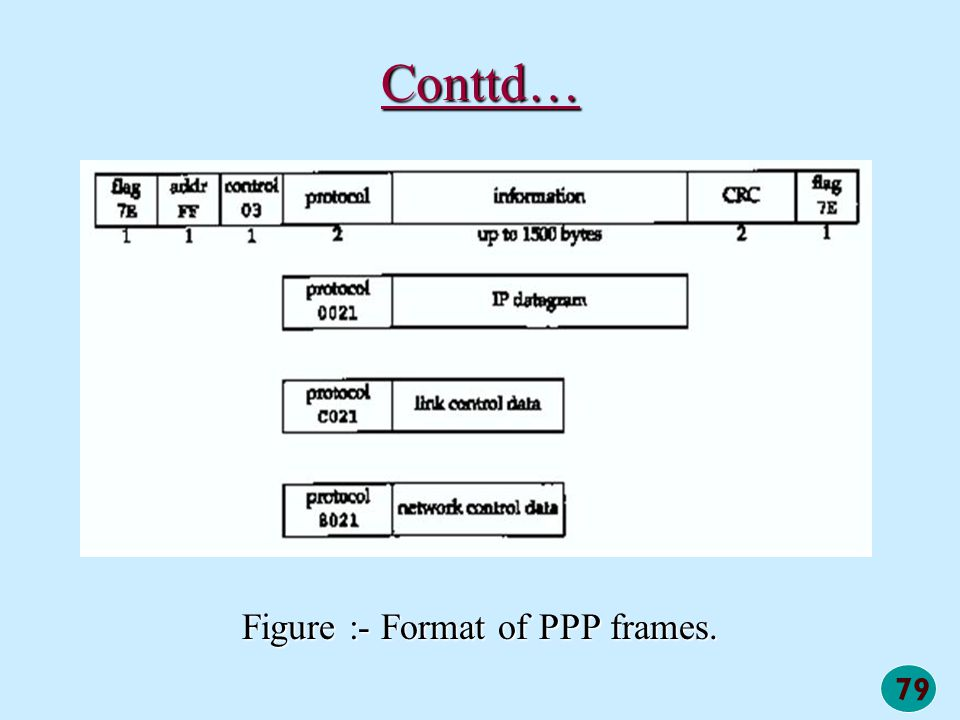 Figure :- Format of PPP frames.