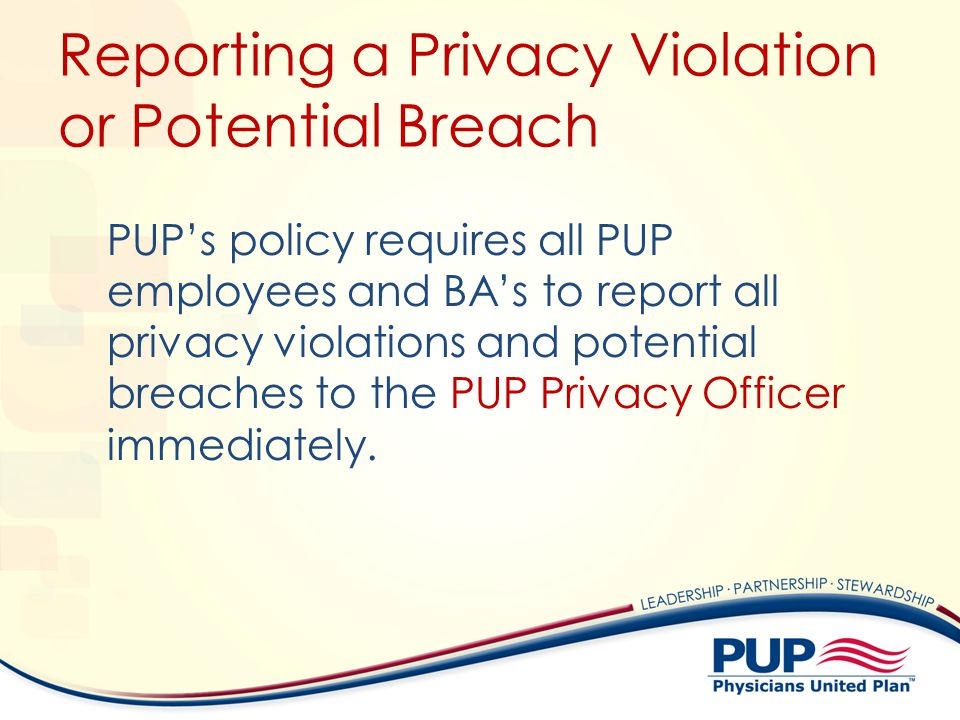 Reporting a Privacy Violation or Potential Breach