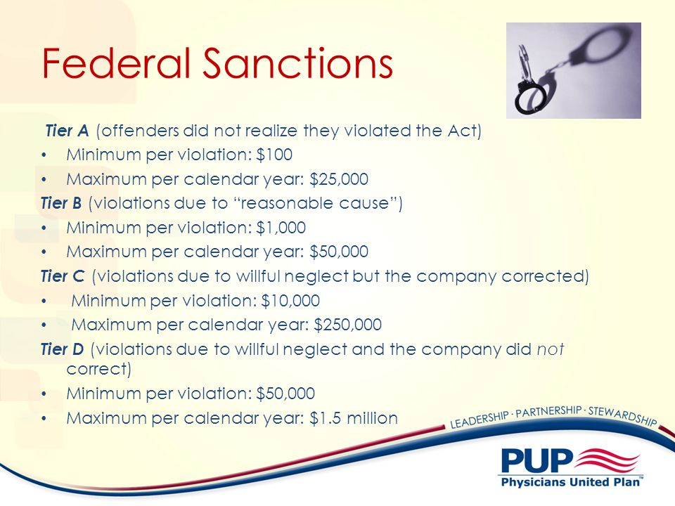 Federal Sanctions Tier A (offenders did not realize they violated the Act) Minimum per violation: $100.