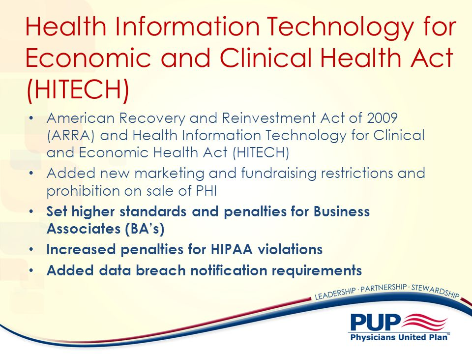 Health Information Technology for Economic and Clinical Health Act (HITECH)