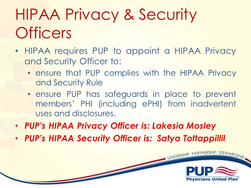 HIPAA Privacy & Security Officers