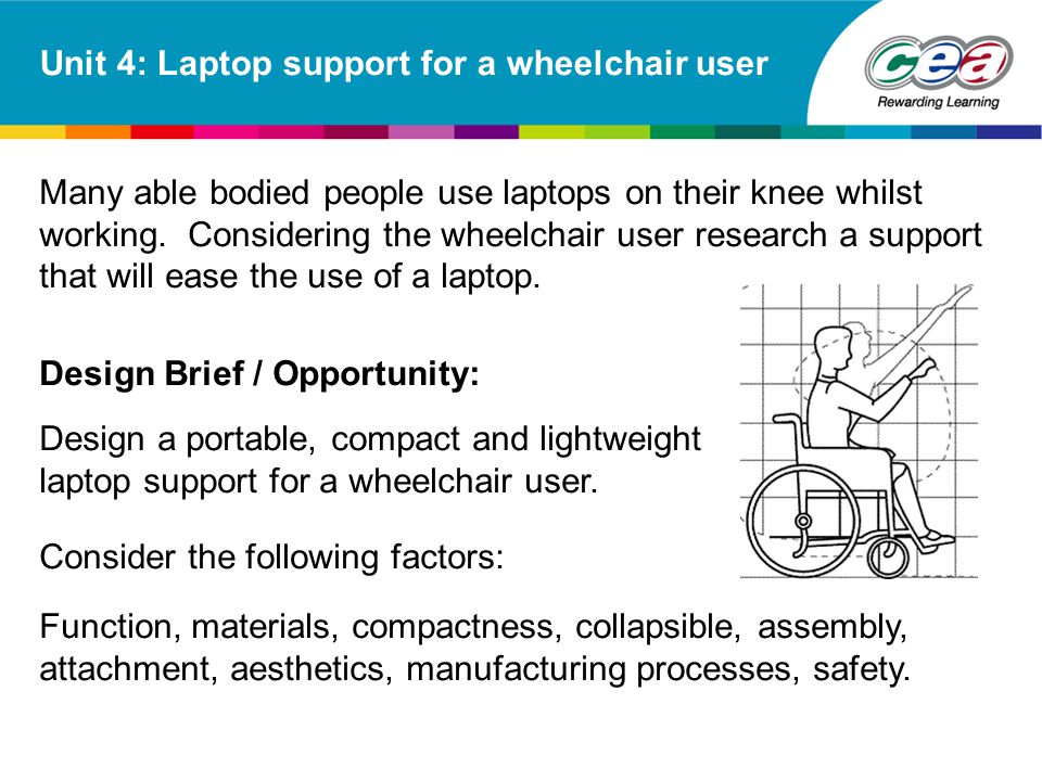 Unit 4: Laptop support for a wheelchair user