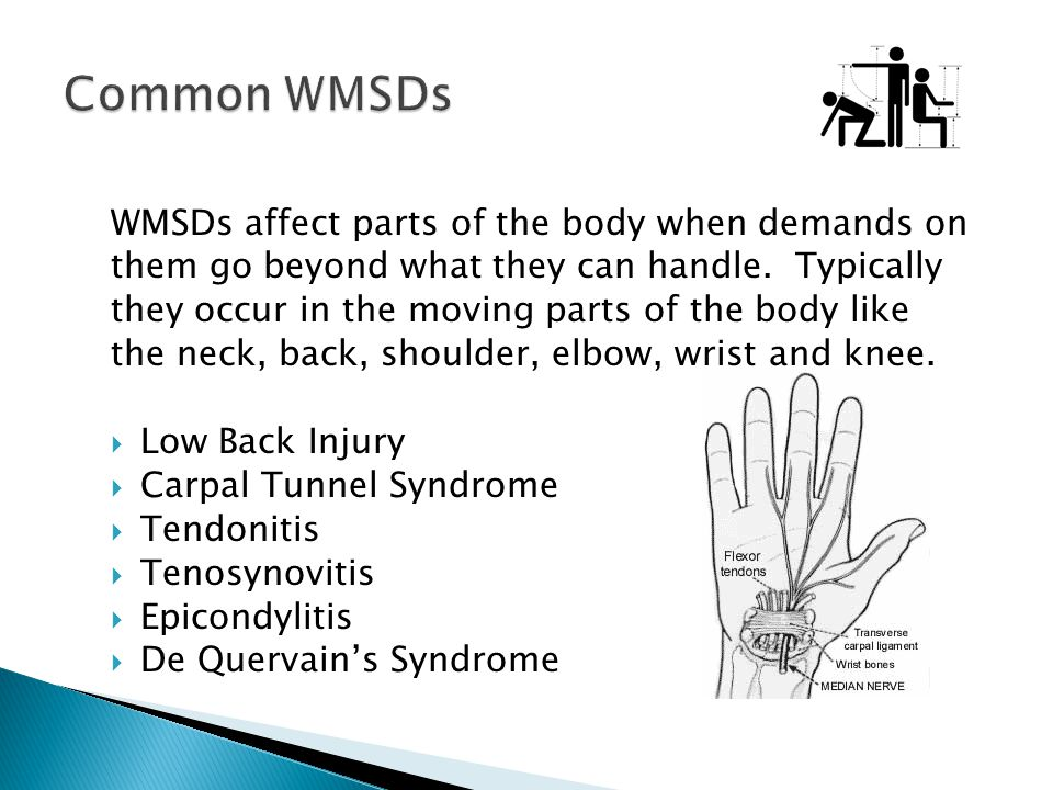 Common WMSDs WMSDs affect parts of the body when demands on