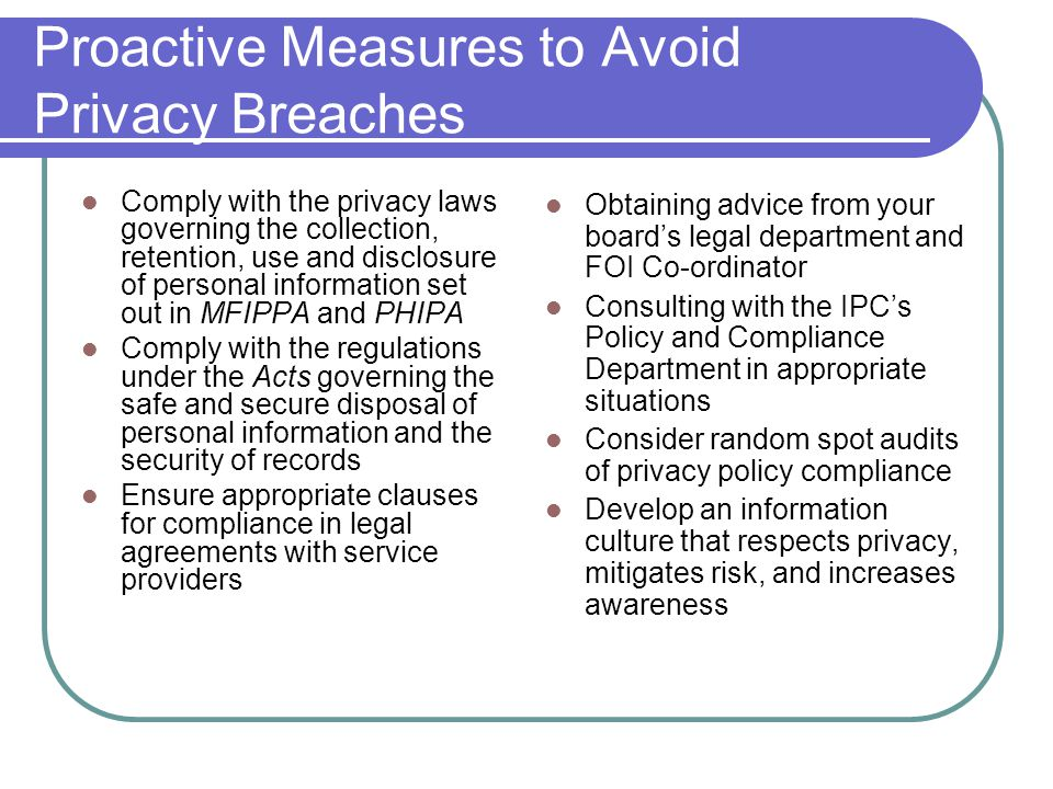 Proactive Measures to Avoid Privacy Breaches