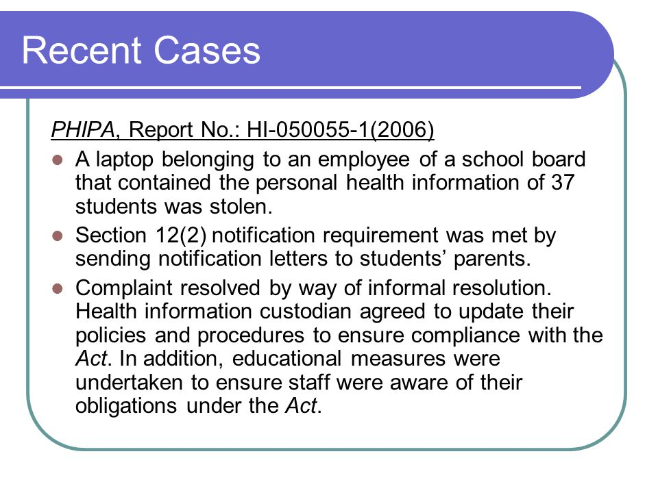 Recent Cases PHIPA, Report No.: HI-050055-1(2006)