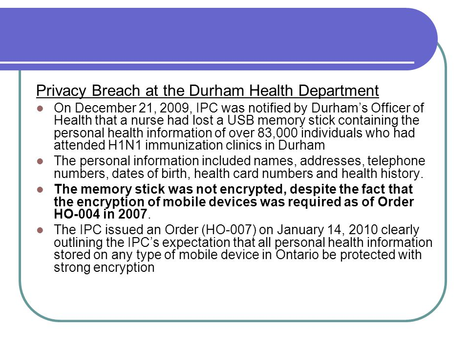 Privacy Breach at the Durham Health Department