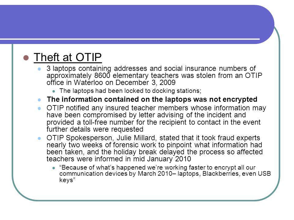 Theft at OTIP