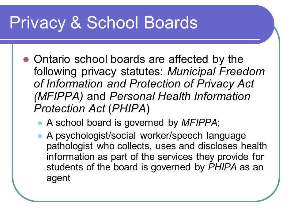 Privacy & School Boards