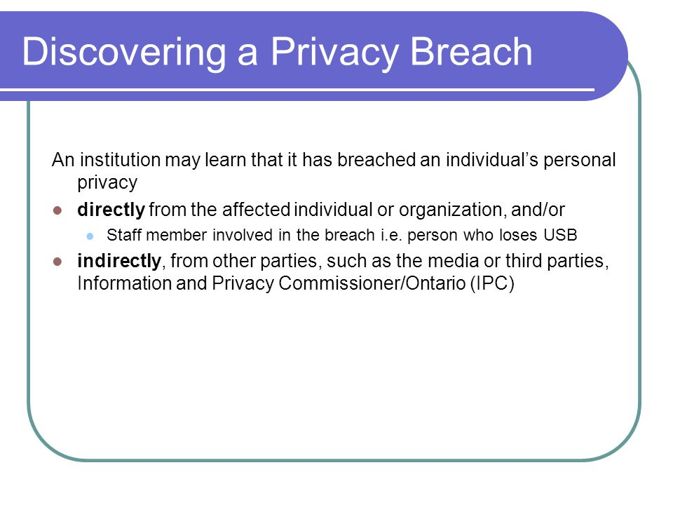 Discovering a Privacy Breach