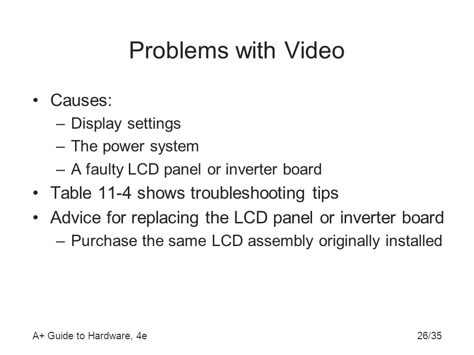 Problems with Video Causes: Table 11-4 shows troubleshooting tips