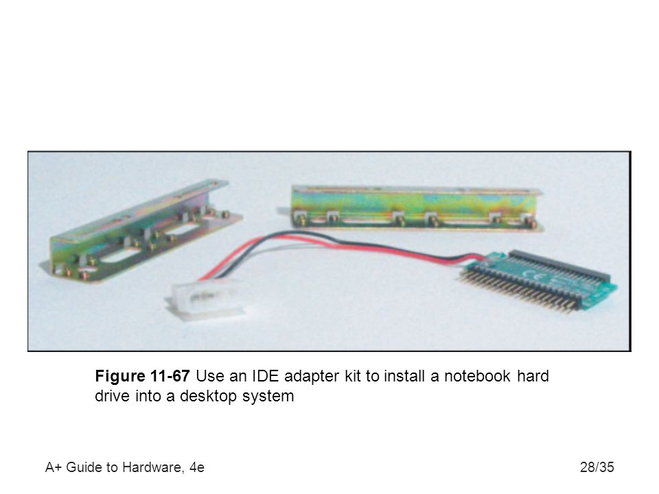 Figure 11-67 Use an IDE adapter kit to install a notebook hard drive into a desktop system