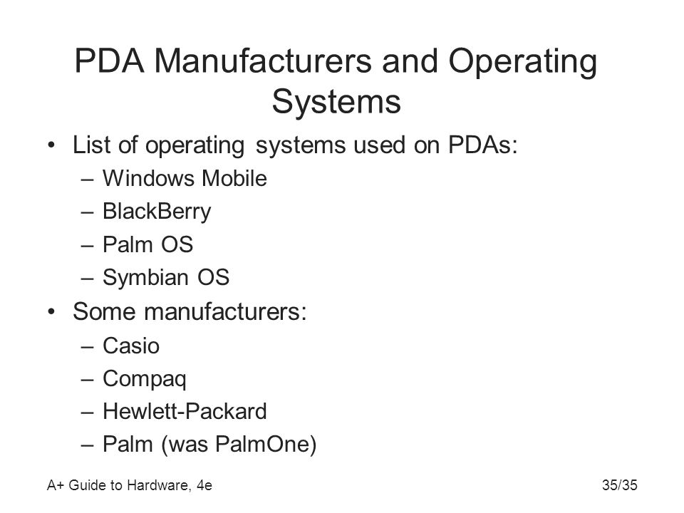 PDA Manufacturers and Operating Systems