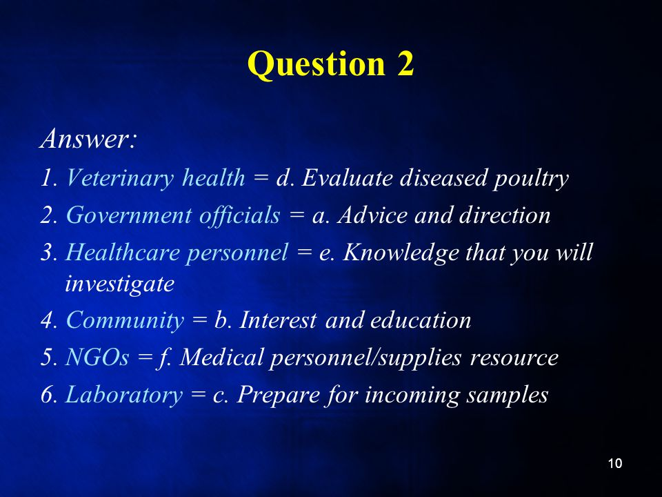 Question 2 Answer: 1. Veterinary health = d. Evaluate diseased poultry